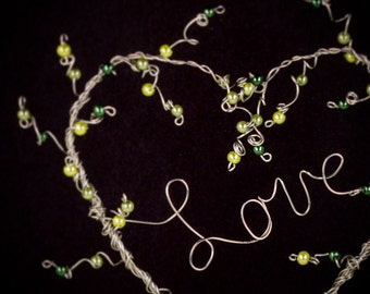 Greenery Heart Topiary Wedding Cake Topper Pearl Beaded Wire Topiary Art Sculpture Simple Classic Heart Wedding Love Wire Word Topiary
