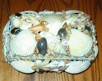 Vintage COQUILLE Shell Art Encrusted Trinket Box 100% Complete- Rectangle