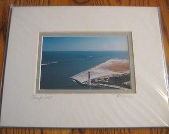 """BARNEGAT LIGHTHOUSE portrait Hand Signed by Artist 8"""" by 10"""" Double Matted Tom McGuire"""
