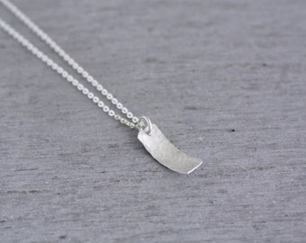Sterling Silver Rectangle Necklace in a small size perfect for wearing everyday, handmade in Sydney from recycled silver : SreNsHD