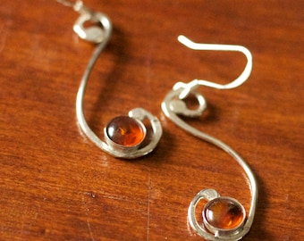Graceful Amber Sterling Silver Earrings