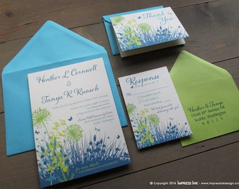 Wild Flower Meadow Wedding Invitation Sample | Flat or Pocket Fold Style