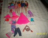 FIVE 1970's Topper Dawn Dolls with Clothing
