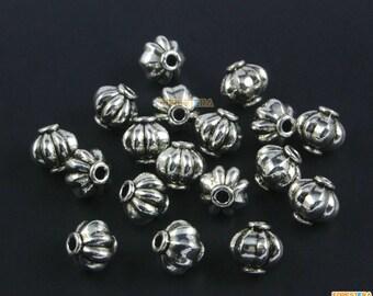 50Pcs Antique Silver Pumpkin Bead Spacer Pumpkin Bead For Jewerly 5x4mm (PND1474)