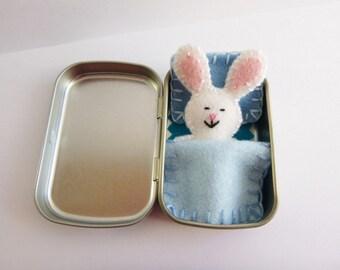 Bunny in a Box™ w/ blue bedding - felt bunny in Altoids tin - Altoids Smalls mini felt bunny - travel toy - purse toy - ready to ship