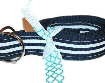 """Dark Navy and White Belt Striped Ribbon Preppy Adult Belt 1.25"""" wide Belt Navy Stripe Cinch Belt D ring Belt for Men D ring belt for Ladies"""