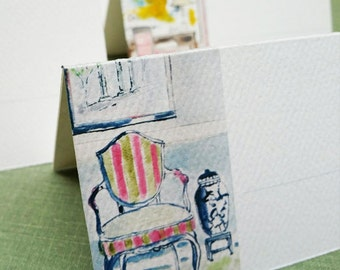 Place Cards with Interior Watercolors, Assorted, Set of 12