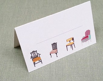 Place Cards Classic Interior Design Chairs Quartet, Set of 12