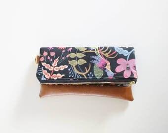 Black floral rifle paper clutch - bridal clutch