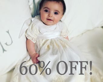 lace baptism dress- ivory white - baby baptism dress- blessing dress- christening gown- baby dress- 3 to 6 month- LAST ONE!