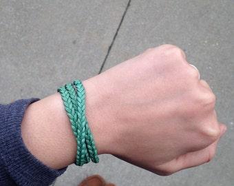 Mint Braided Skinny Triple Leather Wrap Bracelet. Magnetic Clasp