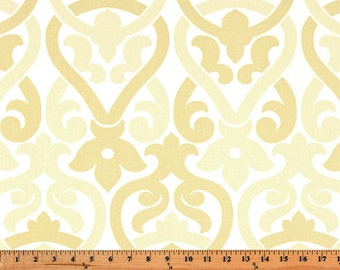 1 Yard Saffron Yellow Alex Fabric - Premier Prints- Light Yellow and White Floral - Fabric by the Yard