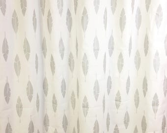 Luna Silver Feathers Curtains. Pair of 2 Drapery Panels. Bedroom Window Treatments. Gray Drapes