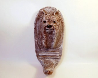 YORKIE Yorkshire Terrier Dog LEASH HOLDER - Key Coat Hook - Signed Plaster Casting - Silky