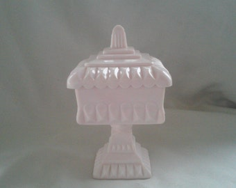 Sale-Vintage Pink Milk Glass Lidded Compote, By Indiana Glass