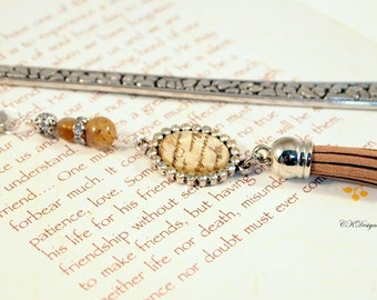 Beaded Bookmark with Tassel, Elangent Charm Bookmark, Beaded Metal Bookmark. Gift for Her, Gift for a Reader, OOAK Handmade Bookmark.
