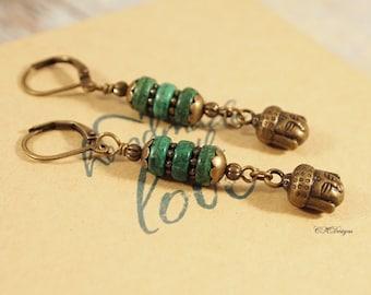 SALE Buddha Earrings, Magnesite Heishi Dangle Pierced or Clip-on Earrings, Boho Chic Earrings, Buddhist Earrings, Yoga Earrings CKDesigns.US