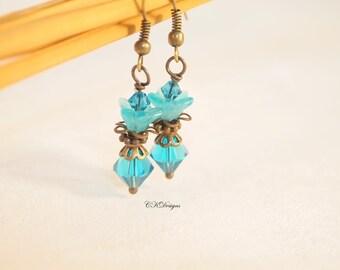 Victorian Style Earrings, Blue Flower Earrings,  Boho Style Earrings Vintage Style Pierced or Clip-on Earrings  Swarovski Handmade Earrings