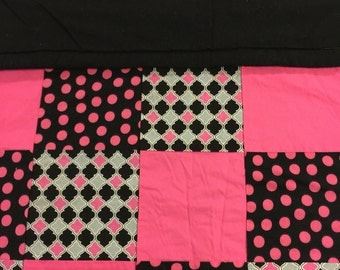 READY TO SHIP- Hot Pink, Grey and Black Quilt, Lap Quilt, Throw, Toddler, Crib Size, baby, Polka Dots, Diamonds