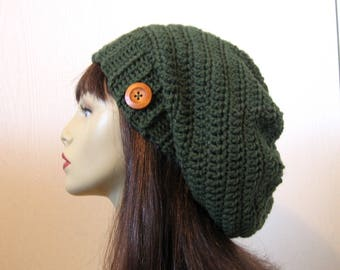 Green Slouch Beanie with Button Green Crochet Slouchy Hat  with Button Oversized Dark  Forest Green Slouchy Beret Green slouch Tam knit hat