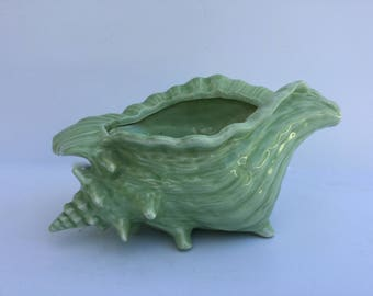 Vintage Green Conch Shell Pottery Footed Planter Bowl Seashell