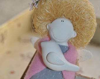 soft sculptured dolls ceramic doll magnet. Kissing cook. Handmade dolls. Hand Sculptured Clay.