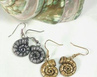 Nautilus Earrings, Shell Earrings, Choice of Silver or Gold, Polymer Clay Shell Earrings, Small Dangle Earrings