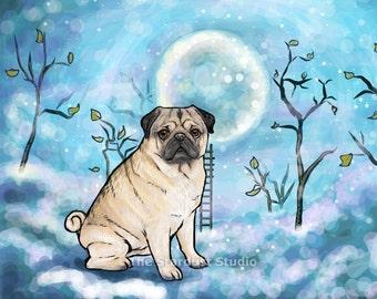 Pug Print(8x10 inch, 12x16 inch, 16x20 inch Paper or Canvas prints) Art Luster Dogs Pets Evening Night sky Stars Moon Trees Folk Dream
