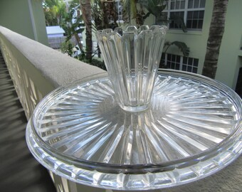This TAKES THE CAKE! Very Unique Pedestal Base Fluted Crystal Cake Plate / Modern Vibe / Elegant Decor