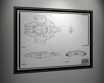 USS Defiant Drawing 24 X 36 Digital Copy