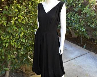 Vintage 1960's Black Dress - Size 10