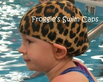 Lycra SWiM CaP - LEOPARD - Sizes - Baby , Child , Adult , XL - Made from Spandex / Swimsuit Swimming Fabric -by Froggie's Swim Caps