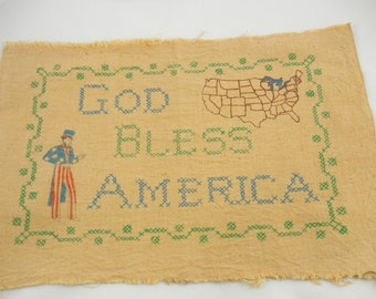 Primitive Pillow Textile Vintage Artex Painted Tea Dyed Patriotic God Bless America Muslin Cotton Quilting Sewing Country Cottage Home Decor
