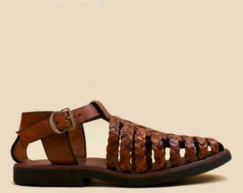 70s Vtg Braided Cognac Genuine Leather Cage Gladiator Sandals / Fisherman Greek BOHO T Strap Flats 6 5.5 Eu 36 35.5