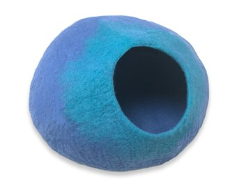 FREE SHIP Cat Cave by Walking Palm - LARGE - Blue and Teal Color - ships now from usa / Cat Bed / Pet Bed / Hand Felted Wool