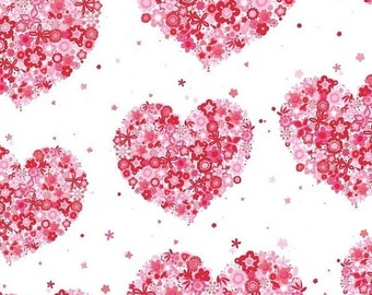 15% off thru 2/28 HEARTS & FLOWERS Michael Miller fabric by the half yard cotton red pink hearts on white CX4913-Redx