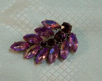 1980's Purple Rhinestone Leaf Fashion Brooch