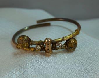 c1800's Victorian Etruscan Wedding Bracelet, Rose Gold Filled, Hinged Victorian Bracelet