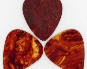 3 Faux Tortoise Shell Guitar Picks for Crafts or Jewelry Projects ~ Unusual Button Box Find ~ 1 inch x 1-3/16 inch -or- 25mm x 30mm