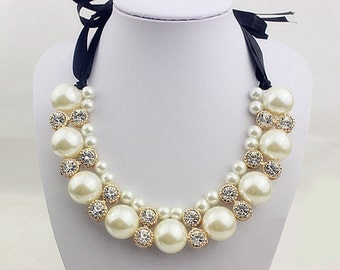 Handmade Victorian Pearl Beaded Lace Collar Necklace Collar Yoke