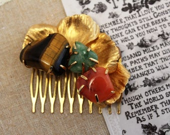 Vintage - Antique - Gold, Aqua, Coral, Tigers Eye Bridal Hair Comb - Headpiece