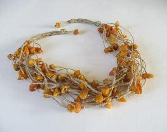 Amber teething necklace-Handknotted natural flax linen rope-Old amber RawBaltic adults-eco friendly Netherlands handmade barnstone Denmark