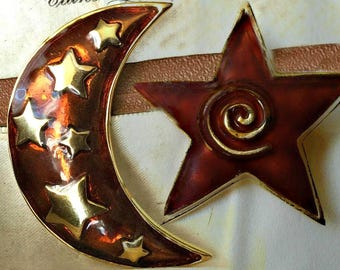 Vintage Enamelled Moon and Star Brooches
