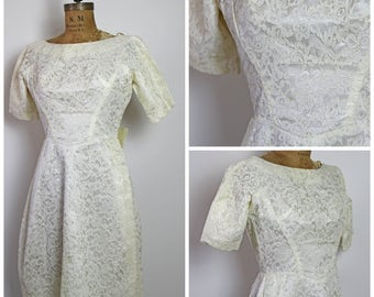1950s Cream Lace Dress with Floral Bow