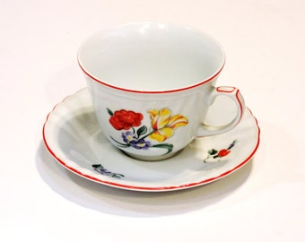 Fitz and Floyd Tea Cup n Saucer,Printemps 212,Vintage Collectible Fine Porcelain Teacup Saucer Set made in Japan,Cottage Chic itsyourcountry