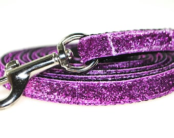 "Pink Metallic Glitter 3/8"" Width  Leash"