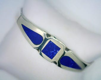 """Sterling Silver Lapis Luzuli Inlay Bracelet, Mexican Mid 20th Century, Stamped MEXICO, 925, TH-30, 58, 6 1/2"""" Long"""
