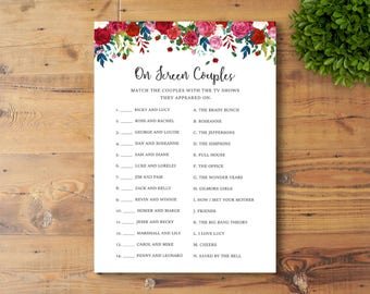 INSTANT DOWNLOAD, Printable Bridal Shower Game, On Screen Couples, Watercolor Flowers