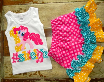 My Little Pony Outfit, Tank or Short Sleeved Shirt with Shorts,  6-12m to 8 years