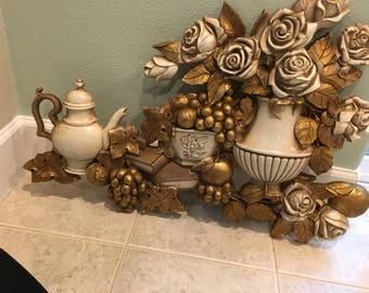 Vintage Homco still life HUGE Wall Hanging tea pot roses syroco